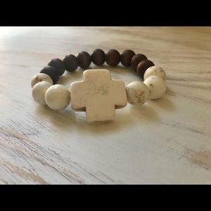Jewelry - Chunky Howlite Cross and Wood Bracelet